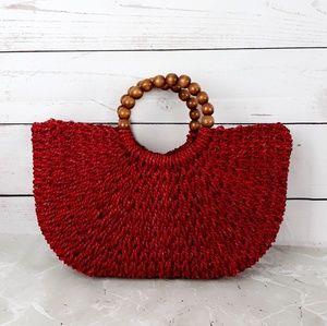 Handbags - Red Woven Straw Tote  Bag